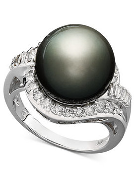 14k White Gold Ring, Cultured Tahitian Pearl (12mm) And Diamond (5/8 Ct. T.W.) Ring by Macy's