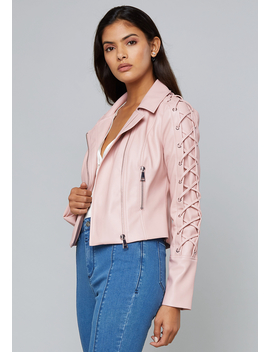 Lace Up Sleeve Jacket by Bebe