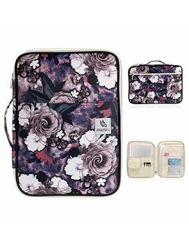 Btsky New Multi Functional A4 Document Bags Portfolio Organizer Waterproof Travel Pouch Zippered Case For Ipads, Notebooks, Pens, Documents (White Flower) by Btsky