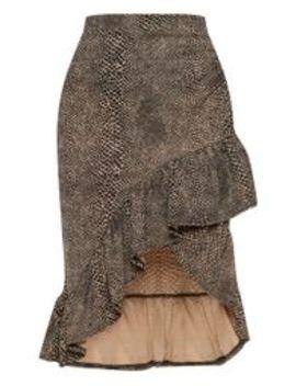 Brown Snake Print Frill Midi Skirt by Prettylittlething