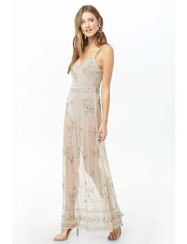 Sheer Beaded Crisscross Maxi Dress by Forever 21