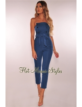 Denim Button Strapless Belted Jumpsuit by Hot Miami Style