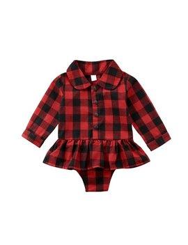 Xmas Newborn Baby Girl Plaid Ruffle Tutu Romper Bodysuit Dress Outfit Clothes 0 24m by Qiylii