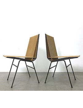 Pair Allan Gould String Side Chairs Iron Woven Cord Mid Century Modern Vintage by Ebay Seller