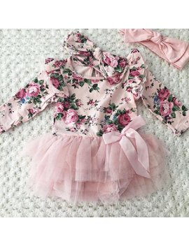 Casual Newborn Infant Baby Girls Outfit Floral Lace Romper Headband Set Clothes by Emmababy