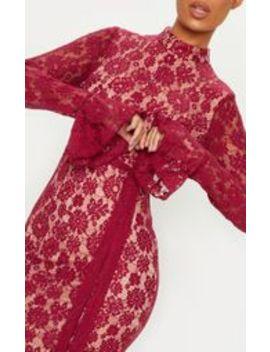 Burgundy Lace Button Detail Frill Hem Midi Dress by Prettylittlething