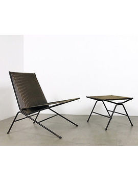 Allan Gould Bow String Lounge Chair Ottoman Iron Woven Rope Mid Century Modern by Ebay Seller