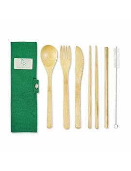 Bamboo Cutlery Set Portable Straw Reusable Cutlery Travel Set Reusable Utensils Bamboo Silverware Wooden | Fork Knife Spoon Chopsticks Straw Straw Cleaner | Sustainable Travel Pouch by Green Remodeled
