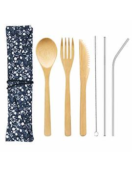 Bamboo Cutlery Set With 8.5 Inch Stainless Steel Metal Straw And Cleaner,7.8 Inch Bamboo Utensils For Travel And Camping,Portable With Case To Go by Redbean
