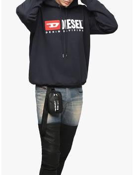 Diesel Logo Hooded Logo Sweatshirt, Black by Diesel