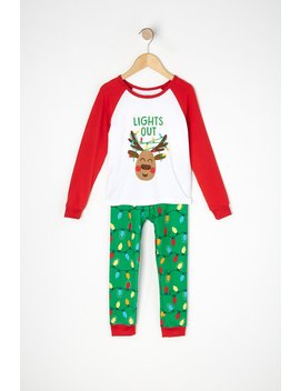 Toddler 2 Piece Lights Out Graphic Christmas Pajama Set by Urban Planet