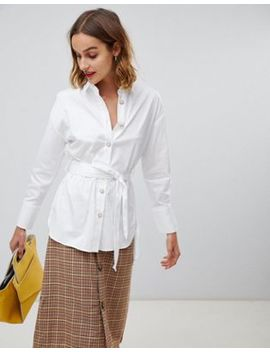 River Island Oversized Belted Shirt In White by River Island