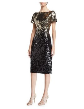 Ombre Sequin Sheath Dress by Marina