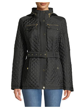 Belted Quilted Short Coat by Michael Michael Kors