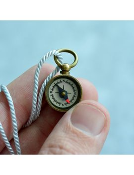 World's Tiniest Working Compass Necklace, Really Works, Antique Brass Compass On Silk Necklace Cord () by Etsy