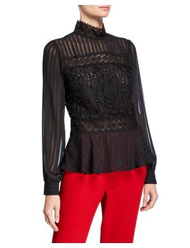 Shadow Stripe And Lace Peplum Blouse by Romeo & Juliet Couture