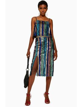 Sequin Stripe Midi Skirt by Topshop