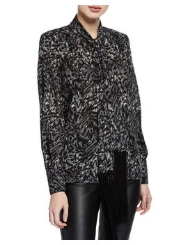 Fringe Tie Button Down Silk Blouse by Michael Kors