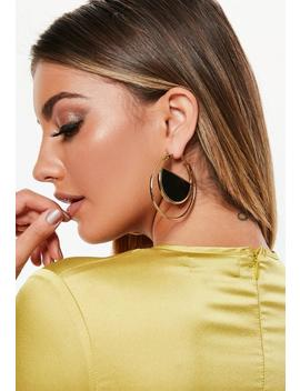 Gold Look Black Insert Hoop Earrings by Missguided