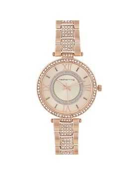Red Herring   Womens' Rose Gold Plated Diamante Embellished Analogue Watch by Red Herring