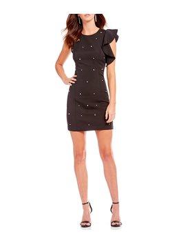 Patricia Pearl Ruffle Mini Sheath Dress by Lucy Paris