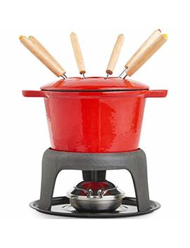 Von Shef Fondue Set With 6 Forks Stylish Cast Iron Porcelain Enamel Pot Makes All Styles Of Fondue Such As Cheese And Chocolate 63 Fl Oz Capacity 12pc Set Red by Von Shef