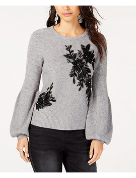 I.N.C. Appliqué Balloon Sleeve Sweater, Created For Macy's by Inc International Concepts