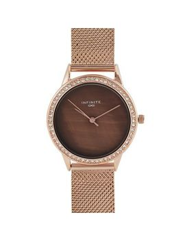 Infinite   Womens' Rose Gold Plated Stone Embellished Analogue Watch by Infinite