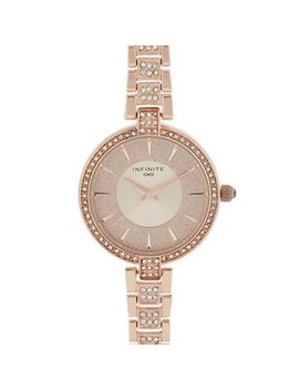 Infinite   Womens' Rose Gold Plated Diamante Analogue Watch by Infinite