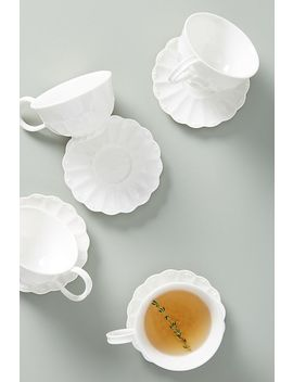 Ville Fleur Cups & Saucers, Set Of 4 by Anthropologie