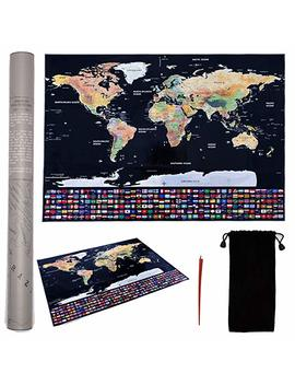 Large Scratch Off Map Of The World Poster   Premium Travel Gift For Globetrotters Of All Types   Scratch Map With Us States by Jöt