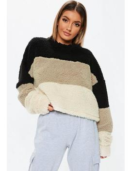 Black Teddy Colour Block Crop Sweatshirt by Missguided