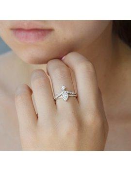 Silver Bridal Set, Victorian Bridal Set, Pear Cut Ring, Pear Bridal Set, Silver Rings Set, Women Rings Set, Wedding Rings Set by Etsy