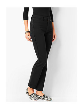 Beaded Tuxedo Stripe High Rise Straight Leg Ankle Jeans   Never Fade Black by Talbots
