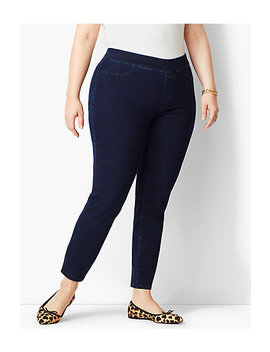 Plus Size Exclusive Comfort Stretch Pull On Denim Jeggings   Rinse Wash by Talbots