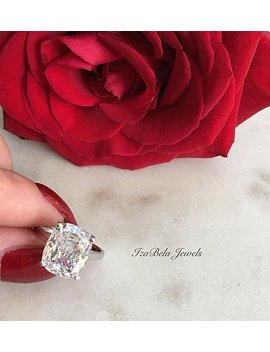 Lily Ring. 925 Sterling Silver And 6 Carat Cubic Zirconia Stone. High Quality Ring. Bridal Ring. Cushion Cut Ring. Big Diamond Cz Ring. by Etsy