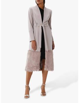 Coast Clarissa Faux Fur Trim Crepe Coat, Mink by Coast