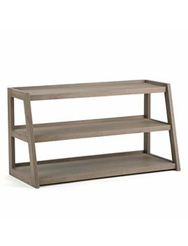 Simpli Home Sawhorse Solid Wood Tv Media Stand, Distressed Grey by Simpli Home