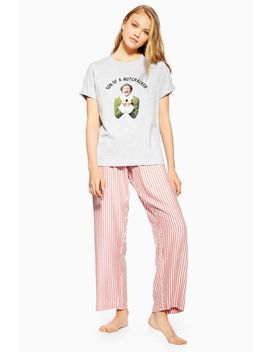 Elf Pyjama T Shirt And Striped Trousers by Topshop