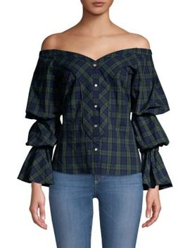 Lena Puff Sleeve Plaid Blouse by Petersyn