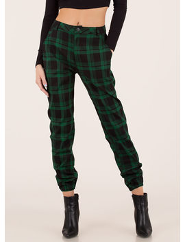 Feels Good To Be Plaid Jogger Trousers by Go Jane