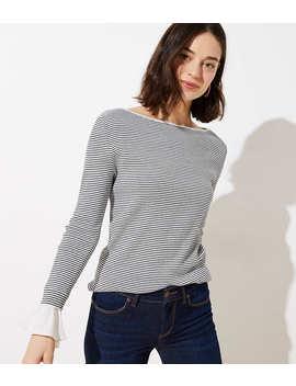 Striped Flounce Cuff Sweater by Loft