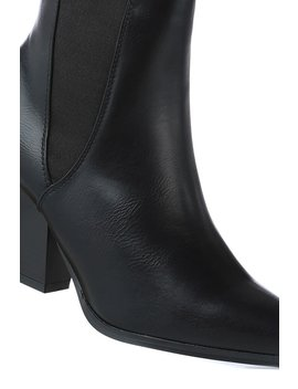 Black Faux Leather Pointed Toe Chelsea Boots by I Saw It First