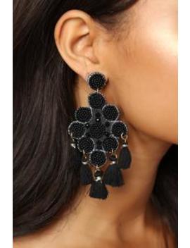 The One To Bead Earrings   Black by Fashion Nova