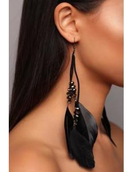 Just Wing It Out Earrings   Black by Fashion Nova