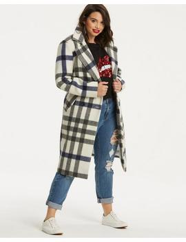 Wool Check Trench Coat by Simply Be