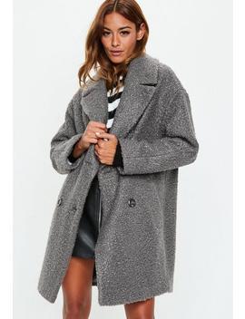 Manteau Gris Oversize Style Laine Bouclée by Missguided