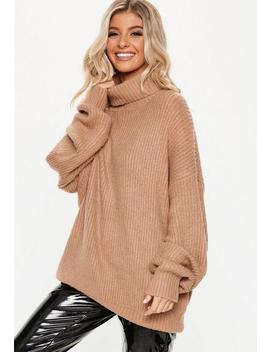 Petite Camel Premium Roll Neck Boyfriend Jumper by Missguided