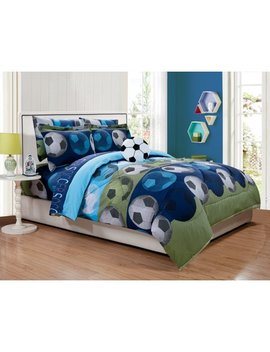 Fancy Linen Collection 8 Pc Full Size Soccer Blue Green White Black Kids / Teens Comforter Set With Furry Buddy Included by Fancy Linen