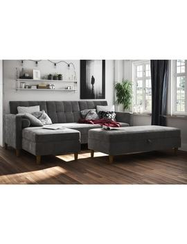 Dhp Hartford Chenille Storage Sectional Futon And Storage Ottoman by Dhp